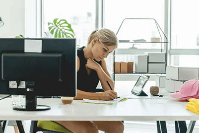 Lady at her desk working